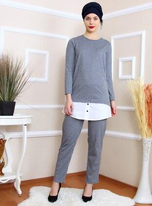 Gray - Stripe - Unlined - Suit