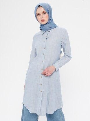 Baby Blue - Stripe - Button Collar - Point Collar - Cotton - Tunic