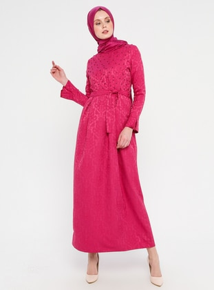 Pink - Fuchsia - Crew neck - Unlined - Dress