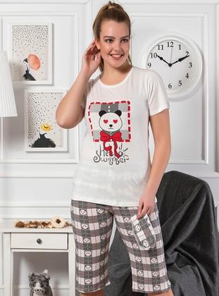White - Crew neck - Multi - Cotton - Pyjama