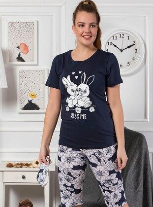 Navy Blue - Crew neck - Multi - Cotton - Pyjama