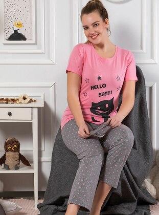 Pink - Crew neck - Multi - Cotton - Pyjama