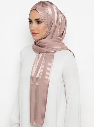 Beige - Stone - Plain - %100 Silk - Shawl