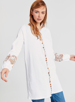 Printed - White - Tunic