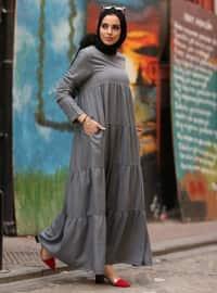 Gri - Yuvarlak yakalı - Astarsız kumaş - Pamuk - Kot - Elbise