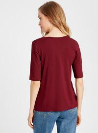 V neck Collar - Maroon - T-Shirt