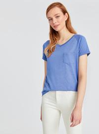 V neck Collar - Gray - T-Shirt