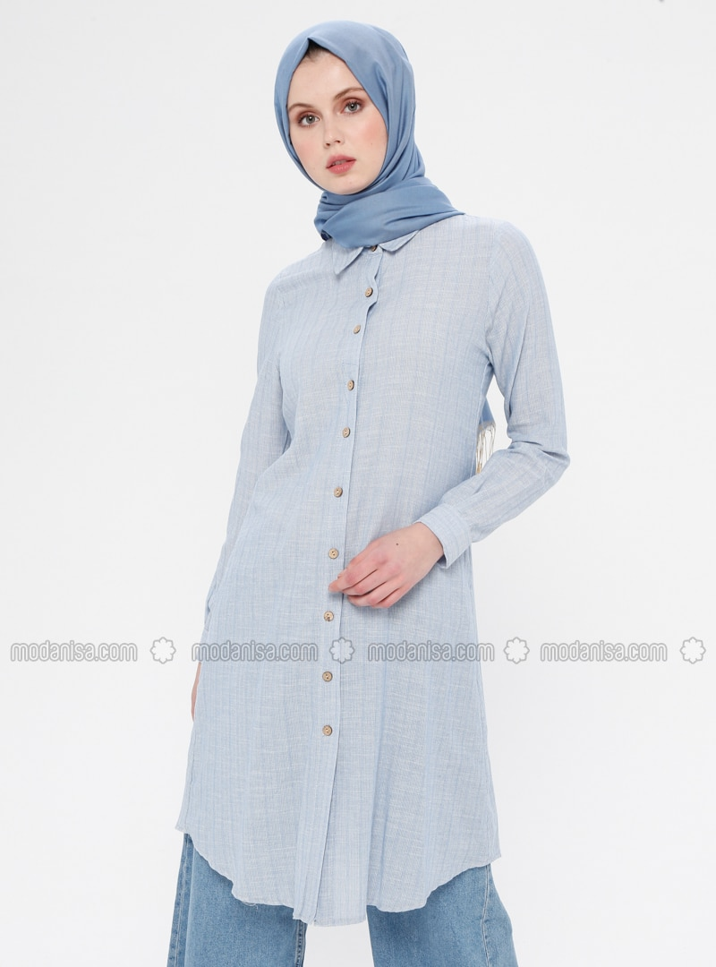 Baby Blue - Stripe - Button Collar - Point Collar - Cotton - Tunic