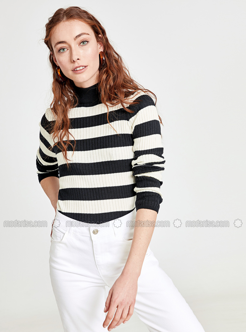 Stripe - Crew neck - Black - Jumper