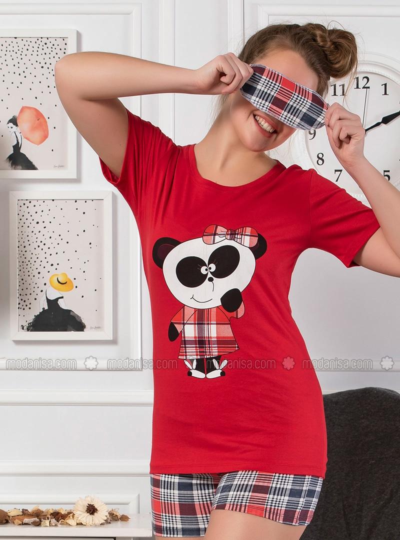 Red - Cotton - Short Set