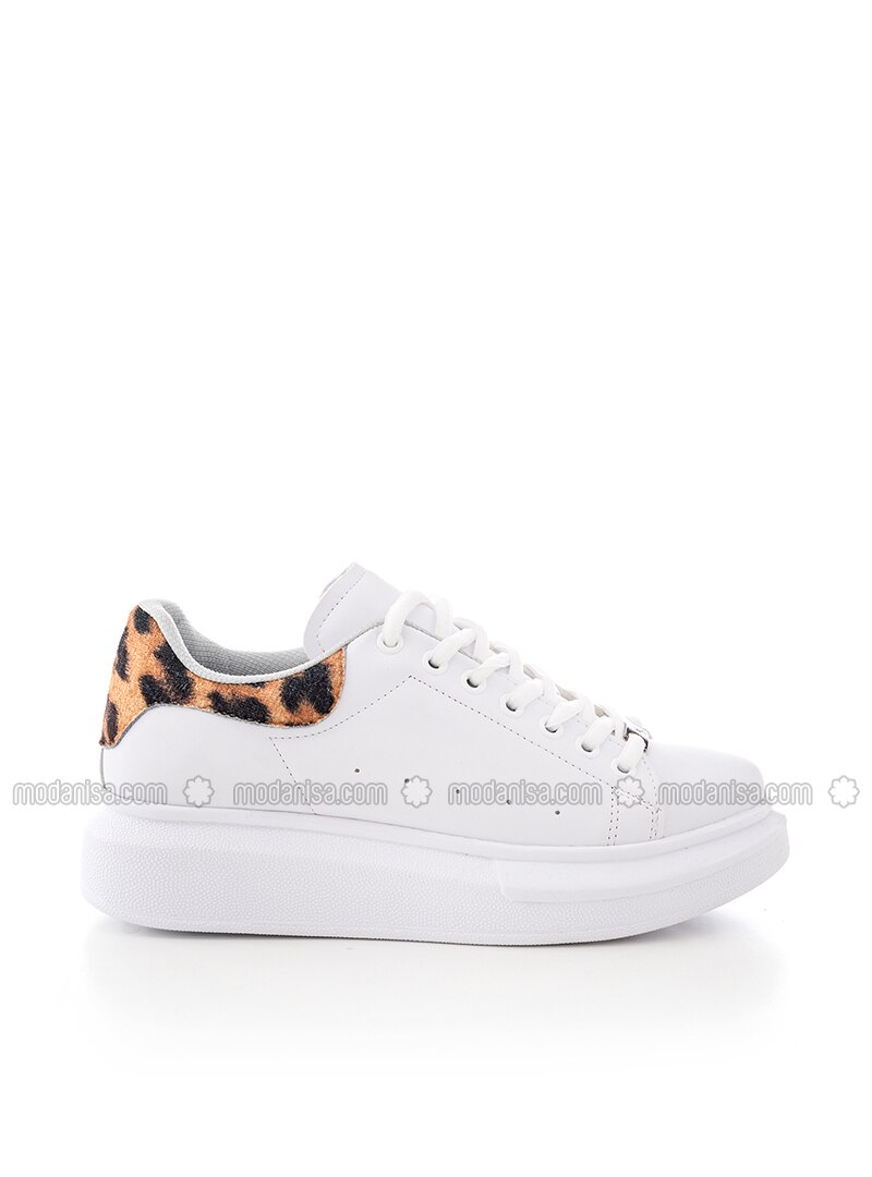 White - Brown - Leopard - Sport - Sports Shoes