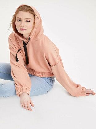 Maroon - Girls` Sweatshirt - DeFacto