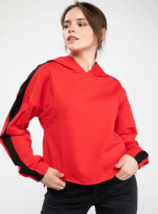 Red - Girls` Sweatshirt - DeFacto