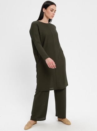 Khaki - Crew neck - Unlined - Plus Size Suit