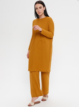 Mustard - Crew neck - Unlined - Plus Size Suit