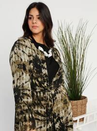 Khaki - Multi - Crew neck - Unlined - Cotton - Plus Size Suit