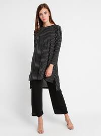 Black - Stripe - Crew neck - Unlined - Plus Size Suit