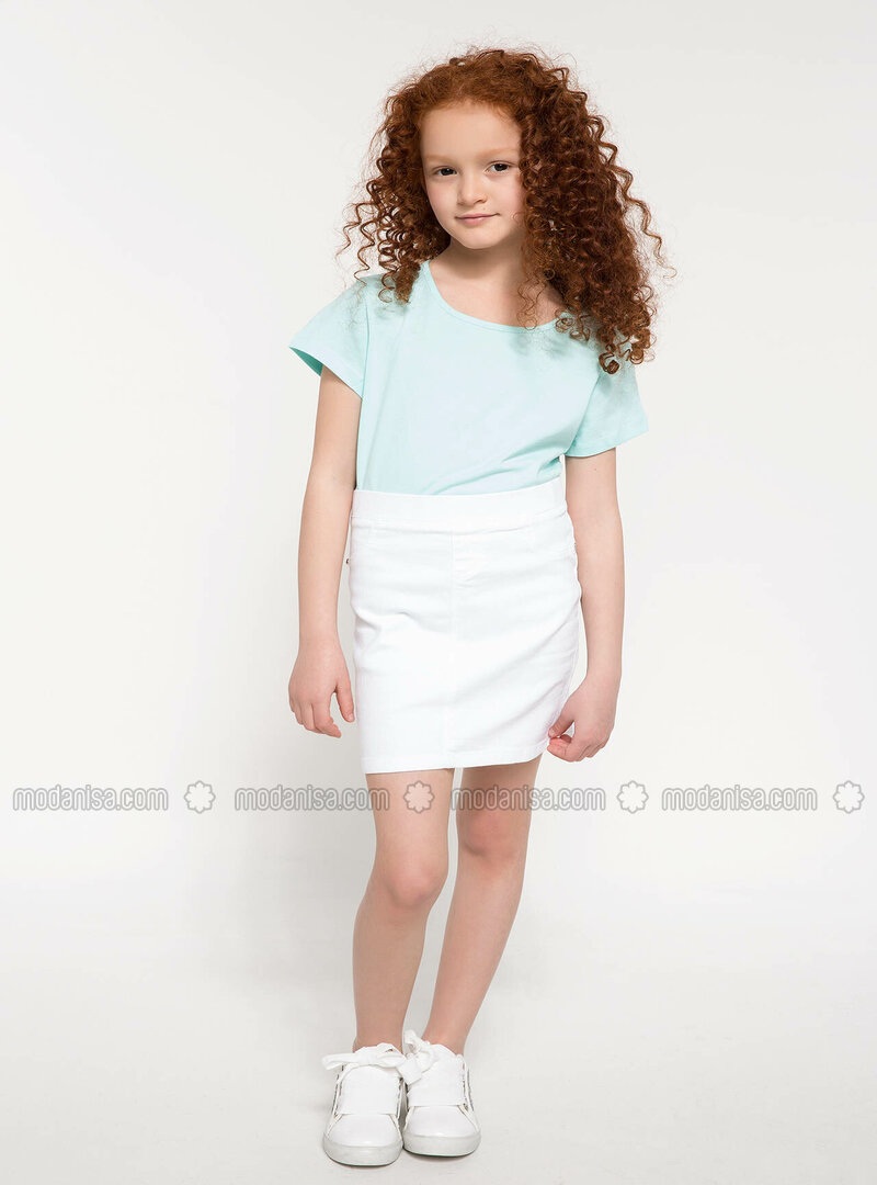 White - Girls` Skirt