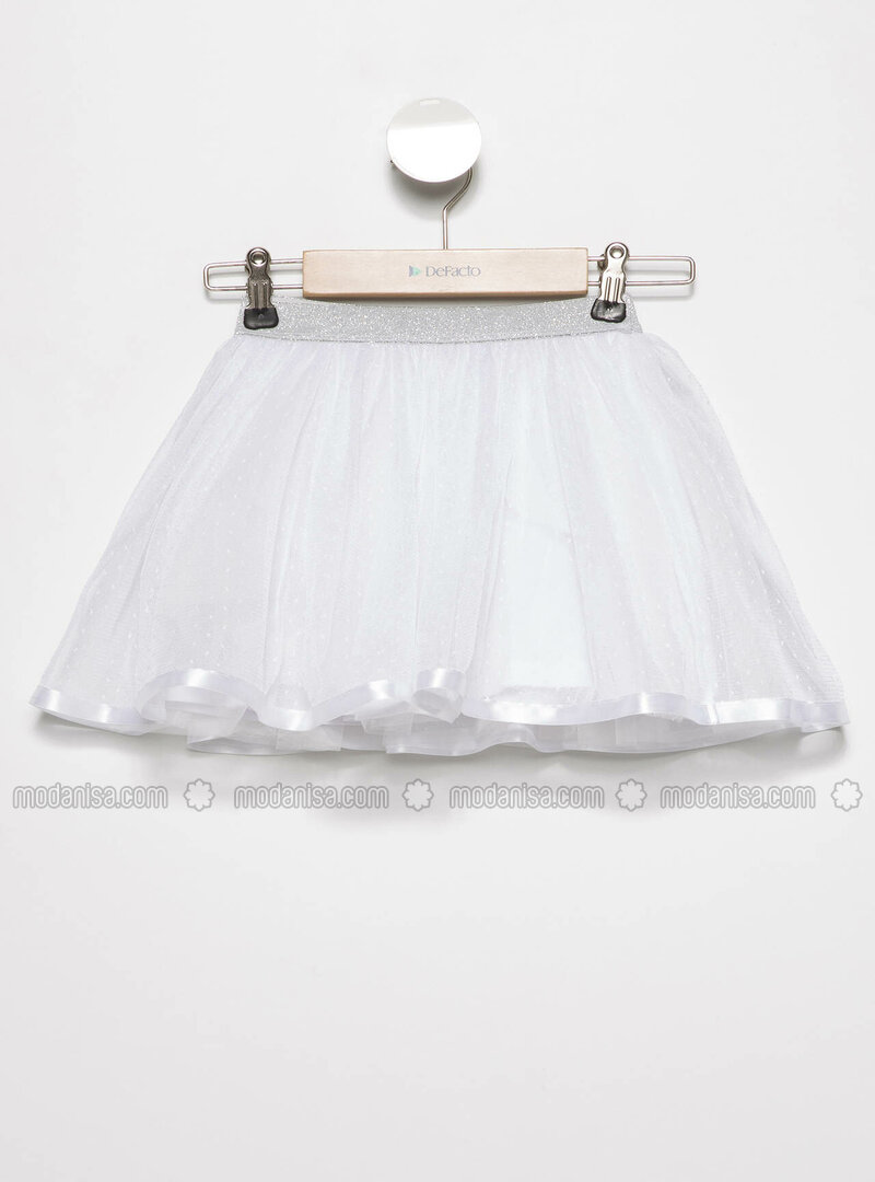White - Girls` Skirt