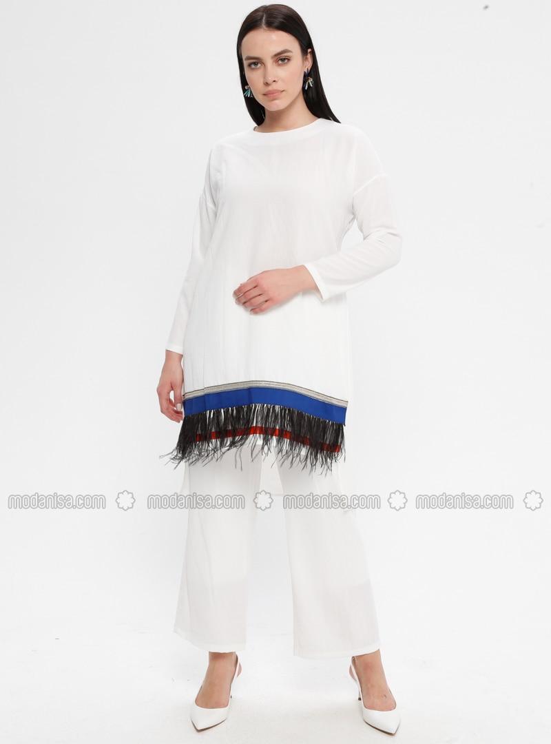 White - Ecru - Crew neck - Unlined - Plus Size Suit