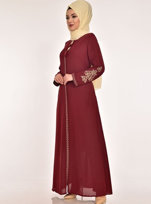 Maroon - Unlined - Dress - AYŞE MELEK TASARIM