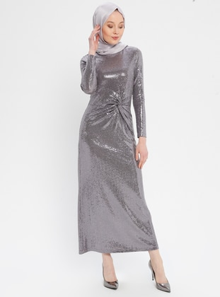 Beige - Lilac - Fully Lined - Crew neck - Muslim Evening Dress