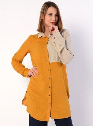 Beige - Mustard - Point Collar - Linen - Blouses