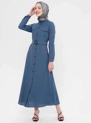 Navy Blue - Indigo - Point Collar - Unlined - Dress