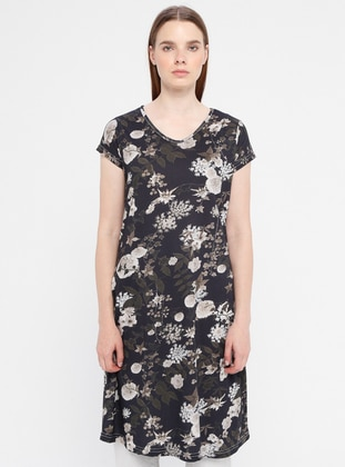 Anthracite - Floral - Multi - Crew neck - Dress