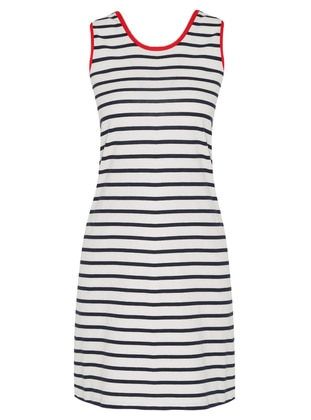 Navy Blue - Stripe - Crew neck - Unlined - Cotton - Dress
