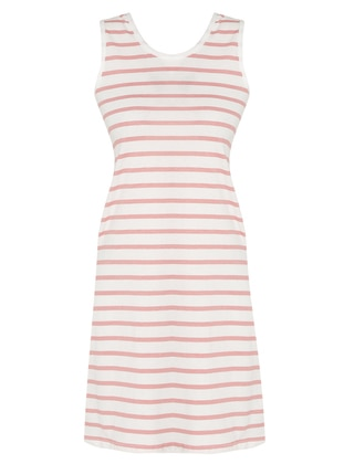 Pink - Stripe - Crew neck - Unlined - Cotton - Dress
