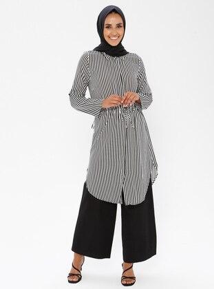 Black - Stripe - Point Collar - Viscose - Tunic