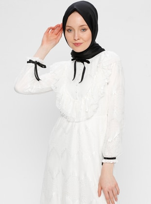 White - Ecru - Crew neck - Fully Lined - Dress