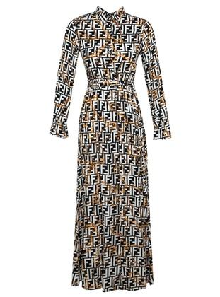 Black - Multi - Point Collar - Unlined - Viscose - Dress