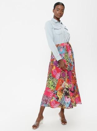 Pink - Fuchsia - Multi - Fully Lined - Skirt