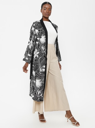 Black - White - Multi - Unlined - Abaya