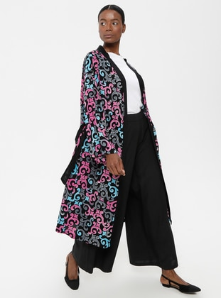 Black - Pink - Multi - Unlined - Abaya