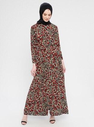 Maroon - Multi - Point Collar - Unlined - Dress