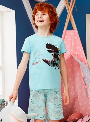 Crew neck - Cotton - Blue - Boys` Pyjamas