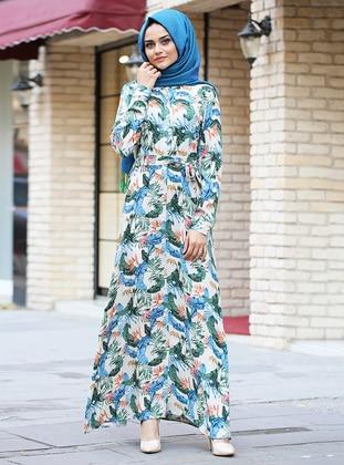Mink - Multi - Point Collar - Unlined - Viscose - Dress