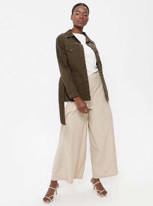 Khaki - Unlined - Point Collar - Cotton - Jacket