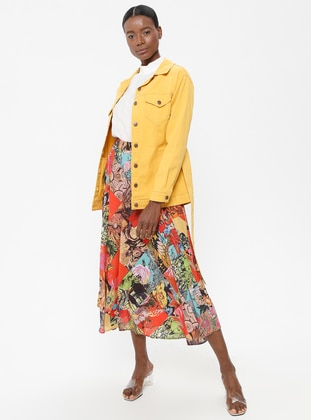Yellow - Mustard - Unlined - Point Collar - Cotton - Jacket