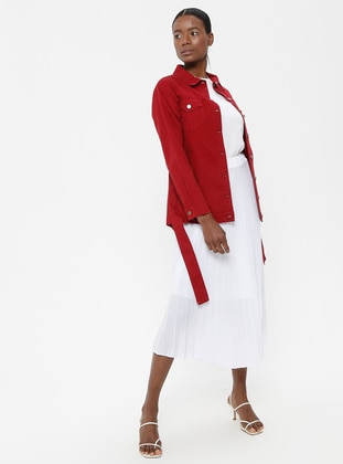 Red - Unlined - Point Collar - Cotton - Jacket