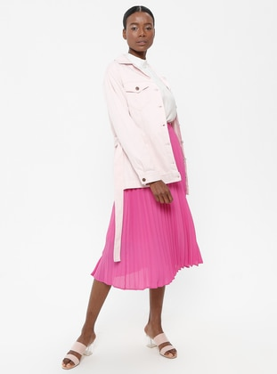 Pink - Unlined - Point Collar - Cotton - Jacket