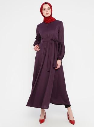 Purple - Unlined - Crew neck - Abaya