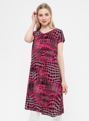 Fuchsia - Multi - Crew neck - Unlined - Cotton - Dress