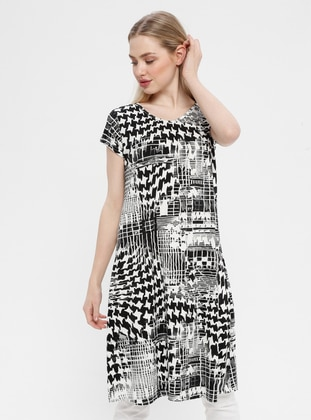 Black - White - Multi - Crew neck - Unlined - Cotton - Dress