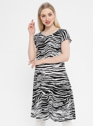 Black - White - Zebra - Crew neck - Unlined - Cotton - Dress