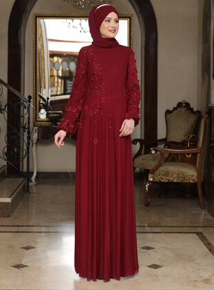 Maroon - Floral - Crew neck - Fully Lined - Muslim Evening Dress