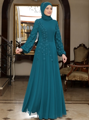 Petrol - Floral - Crew neck - Fully Lined - Muslim Evening Dress